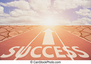 Run Track To Success and sign which symbol success. Concept for success.