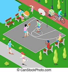 Isometric Basketball Playground. Sporty People Playing Basketball in the Park
