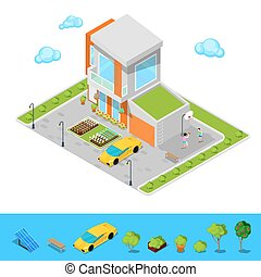 Modern Cottage House with Garage, Basketball Playground and Green Roof. Isometric Building