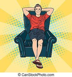 Happy Man Relaxing in Comfortable Chair. Pop Art