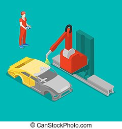 Robot Painting Car Body in Automobile Factory. Isometric Transportation