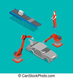 Isometric Car Production. Assembly Line of Car in Automobile Factory