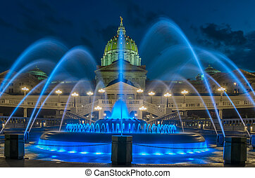 Pennsylvania capital building and fountain - Pennsylvania...
