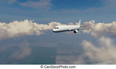 Passenger airliner in sky clouds - Passenger airliner flying...