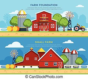 Two Farm Flat Horizontal Banners - Two farm flat horizontal...