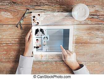close up of hands with tablet pc and web page - business,...