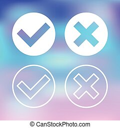 Vector white check marks set