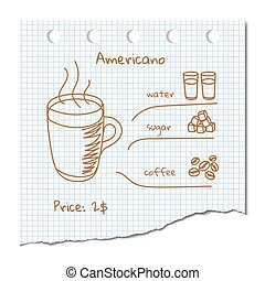 Coffee drink recipe quot;Americanoquot; - Vector...
