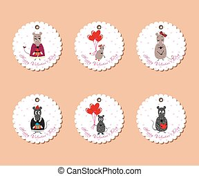 Valentine's day tags mice