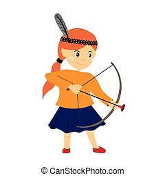 Vector illustration of a girl with bow