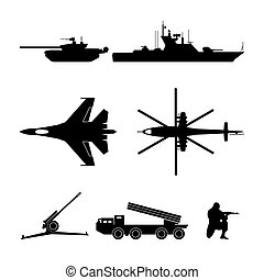 Black silhouettes of military equipment - Military set....