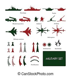 Military set for tactical map with detailed icons. Vector...