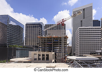 Construction site in downtown district - Construction site...