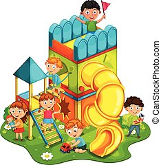 Kids playing at the park vector ill