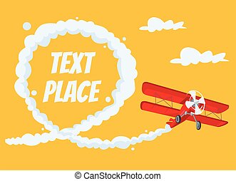Airplane with speech bubble Vector flat cartoon illustration...