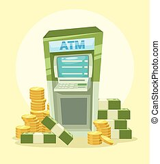 Cartoon ATM machine with money Vector flat illustration icon...