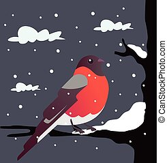 Bullfinch sitting on branch Vector flat cartoon illustration...