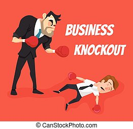 Business knockout. Vector flat cartoon illustration