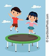 Kids jumping on trampoline Vector flat cartoon illustration