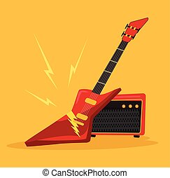 Electric guitar. Vector flat cartoon icon illustration
