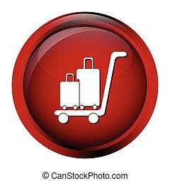 Luggage and cart icon, symbol button vector illustration