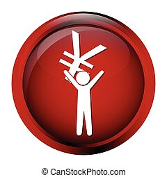 Man carrying with a money icon, yen sign button vector...