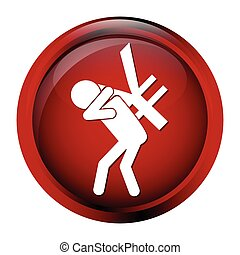 Man carrying with a money icon, sign button - Man carrying...
