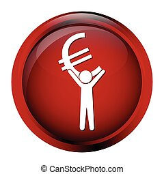 Man carrying with a money icon, euro sign button