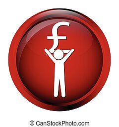 Man carrying with a money icon, pound sign button