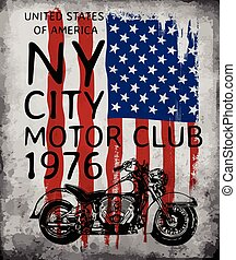 Motorcycle tee graphic with american flag