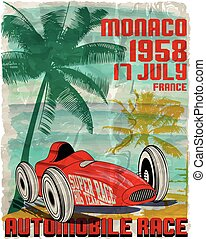 vintage race car for printing.vector old school race poster.retro race