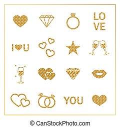 Valentine s day golden glitter design elements set.