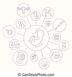 Medicine and pregnancy vector line icon - Pregnancy and...