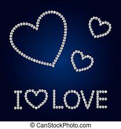 Vector shiny diamond heart. Valentine s Day Card.