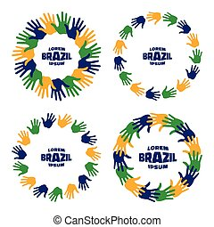 Set of colorful hand print icons using Brazil flag colors.
