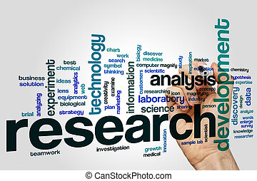 Research word cloud concept with analysis technology related...