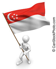 Men with flag. Singapore. 3d
