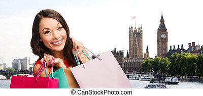 sacolas, mulher,  shopping, cidade, sobre, Londres