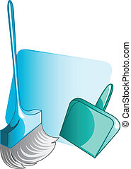 Household equipments - Illustration of broom and waste tray...