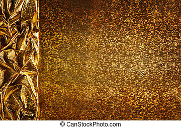 Gold Fabric Background, Cloth Golden Sparkles Texture, Waves...