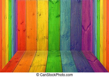 room with multicolored boards in colors of rainbow - closed...