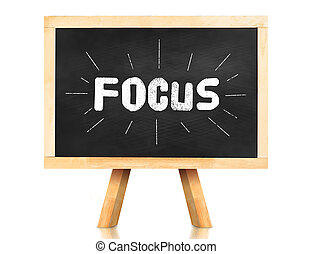 Focus word with emphasis line on blackboard with easel and...