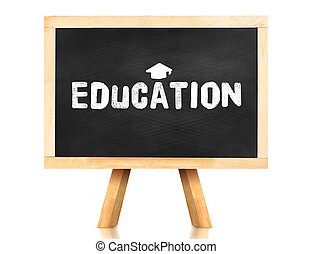 education word and Graduation cap icon on blackboard with easel and reflection on white background,Business concept