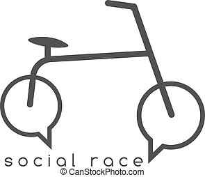 social race vector concept with bike and chat bubbles
