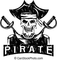 skull captain pirate in hat with swords grunge vector design template