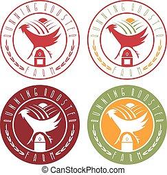 running rooster farm vintage labels set vector
