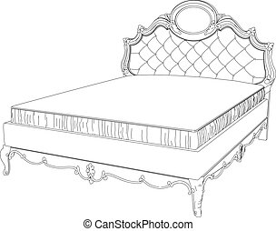 3D rendering of a classic bed