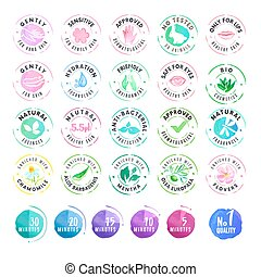 Set of stickers for cosmetics - Set of hand drawn watercolor...