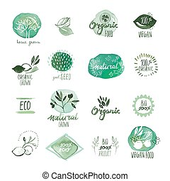 Organic food stickers and badges - Set of organic food hand...