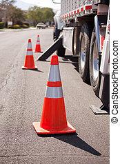 laranja, perigo, cones, utilidade, caminhão, rua